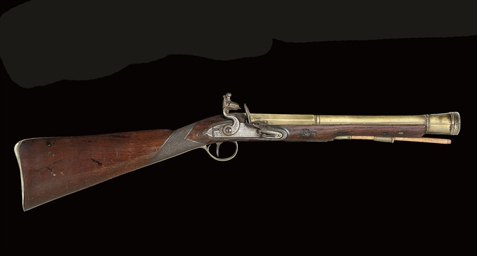 A FLINTLOCK BLUNDERBUSS; AND A