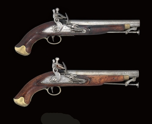 TWO FLINTLOCK PISTOLS BUILT ON