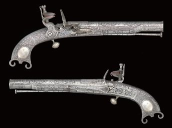 A PAIR OF SCOTTISH ALL-METAL FLINTLOCK BELT PISTOLS BY JOHN ...