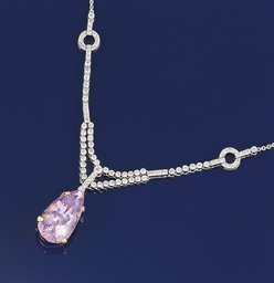 A kunzite and diamond necklace