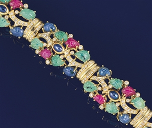 A diamond and gem bracelet