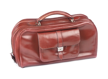 AN OXBLOOD-RED 'V' BAG