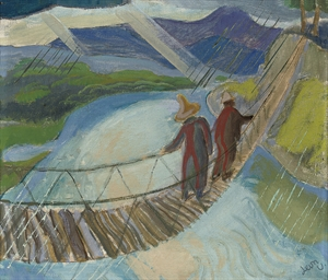 Figures on a Rope Bridge