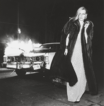 Woman in Fur Coat by Burning Car, for Christian Dior, 1970s