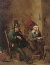 Peasants making music in an interior