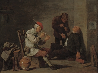 Peasants smoking in an interio