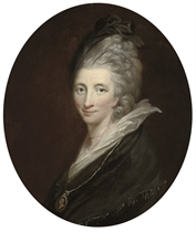 Portrait of Hester Lynch Thrale (1741-1821), née Salusbury, bust-length, in black mourning dress and hat