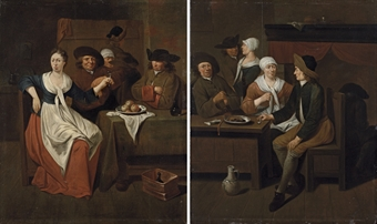Gentlemen eating in a tavern, an amorous couple beyond; and A tavern interior with mixed company drinking at a table