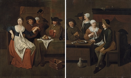 Gentlemen eating in a tavern,