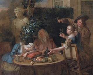A drinking party in a garden