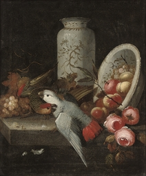 A pair of parrots with grapes,
