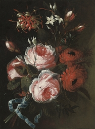 A bouquet of roses, chrysanthe