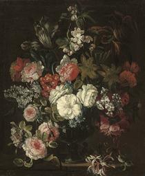 Roses, chrysanthemums, an iris