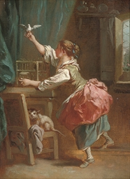 An interior with a girl lettin