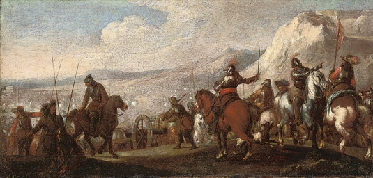 A battlefield with cavalrymen