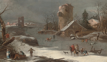 A winter landscape with skater
