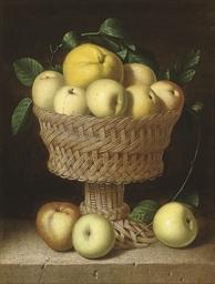 A still life of apples in a ba