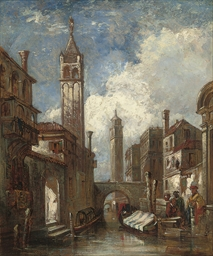 A Venetian canal with merchant