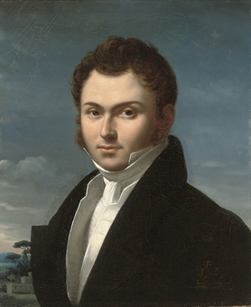 Portrait of a gentleman, bust-length, in a black coat and white shirt, a landscape beyond