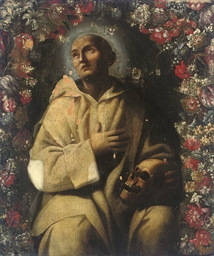A Carthusian monk with a skull