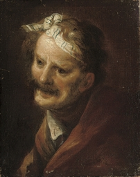Head of an old man with a blue