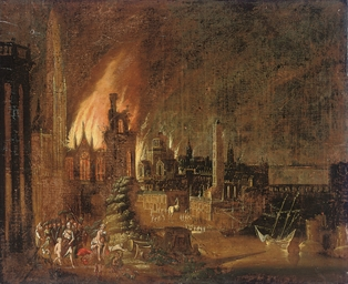 Aeneas fleeing burning Troy wi