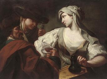 A woman serving two men chocol