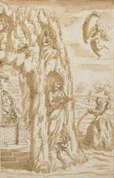 An allegory with statues in th