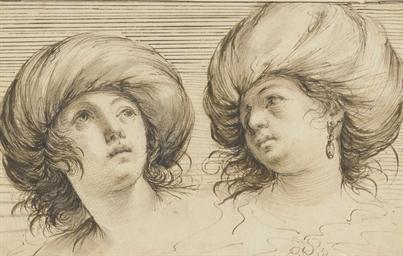 Two heads of women wearing tur