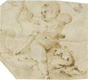 A putto riding a sea monster