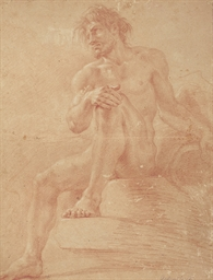 An academic male nude as a riv