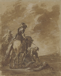 Two figures on horseback, with