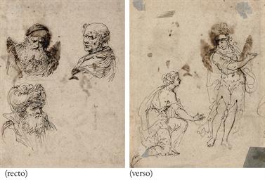 Three heads (recto); A kneelin