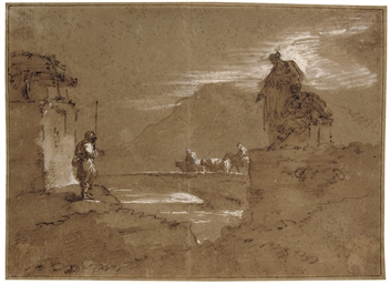 A moonlit coastal landscape wi