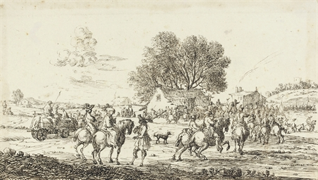 Soldiers on horseback by a ham
