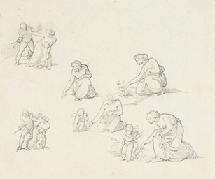 Studies of a woman picking flo