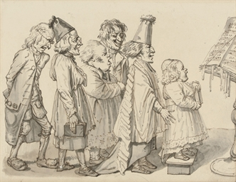 A child chorister and four men