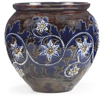 A DOULTON LAMBETH STONEWARE FLOWER POT