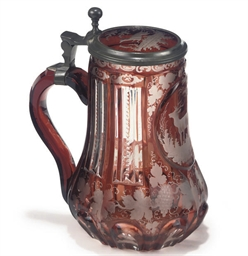 A BOHEMIAN GLASS PEWTER-MOUNTE