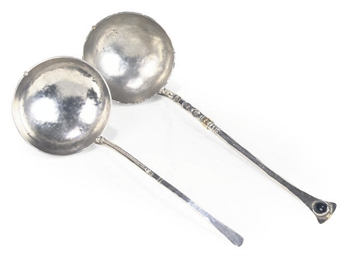 TWO MODERN SILVER SOUP LADLES