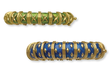 A PAIR OF ENAMEL AND GOLD BRAC