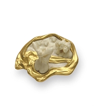 **AN ART NOUVEAU IVORY AND GOLD BROOCH, BY RENE LALIQUE