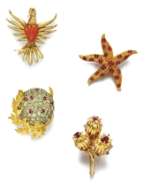 **A GROUP OF MULTI-GEM AND DIAMOND BROOCHES, BY JEAN SCHLUMB