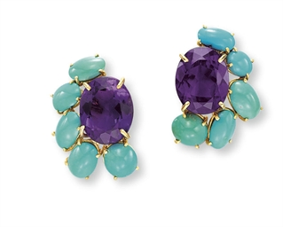 A PAIR OF AMETHYST AND TURQUOI