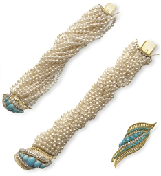 A SET OF TURQUOISE, DIAMOND AN