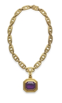 AN AMETHYST AND GOLD NECKLACE, BY BARRY KIESELSTEIN-CORD