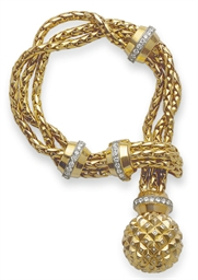 A GOLD AND DIAMOND TASSEL BRAC