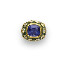 A TANZANITE, EMERALD AND DIAMO