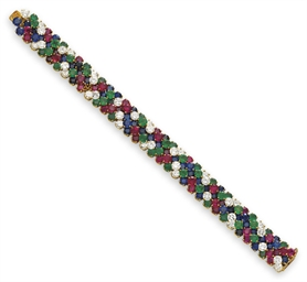 A MULTI-GEM AND DIAMOND BRACEL