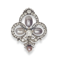 AN ANTIQUE PEARL AND DIAMOND BROOCH, BY MELLERIO